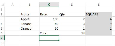 sumsq function in excel