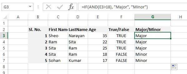 AND function inside another in excel