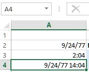 Date and time in excel