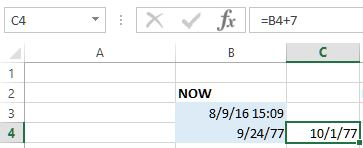 Add days into date in excel