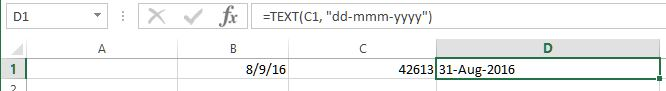 Converting serial number to date in excel