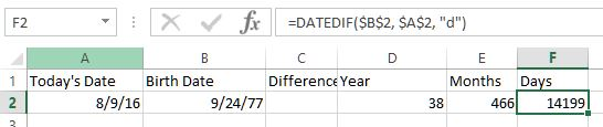 DateDiff function in Excel