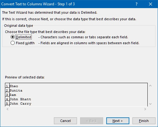 Convert Text to Columns wizard in Excel