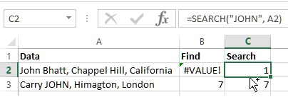 SEARCH function in Excel