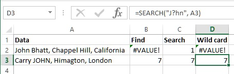 Wildcard in SEARCH function of Excel