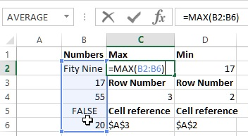 Max function syntax in Excel