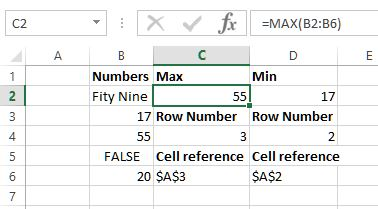 Max function in Excel