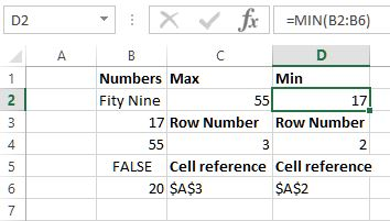 Min function in Excel