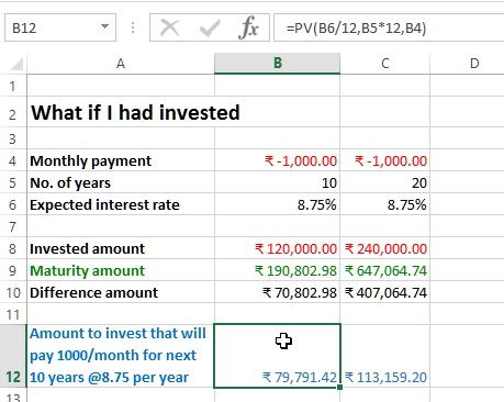 Annuity amount calculation in excel