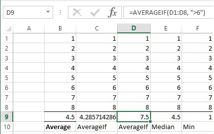 AVerageIf another example in Excel