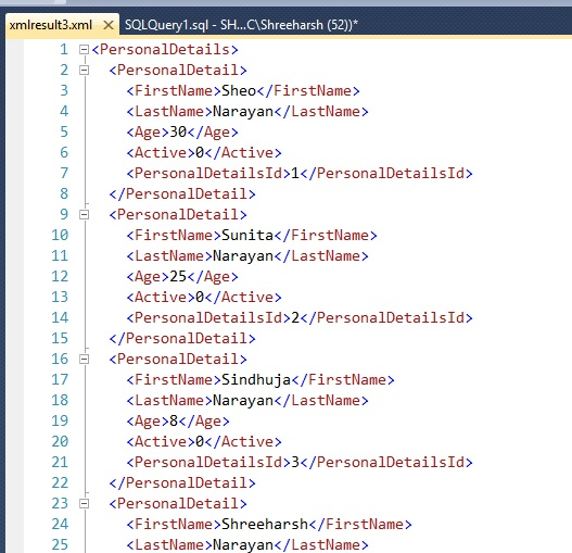 Sql server generated xml file