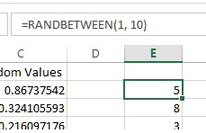 RANDBETWEEN function in Excel