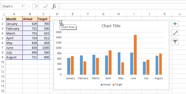 Move chart in Excel