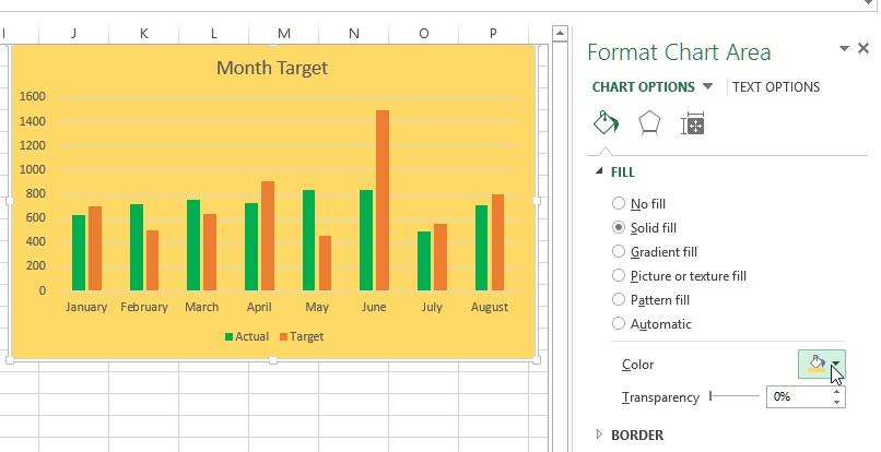 Change background color of the Excel chart