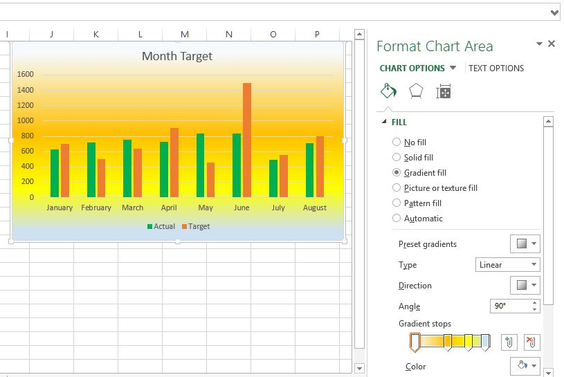 Changing background to gradient fill in Excel chart