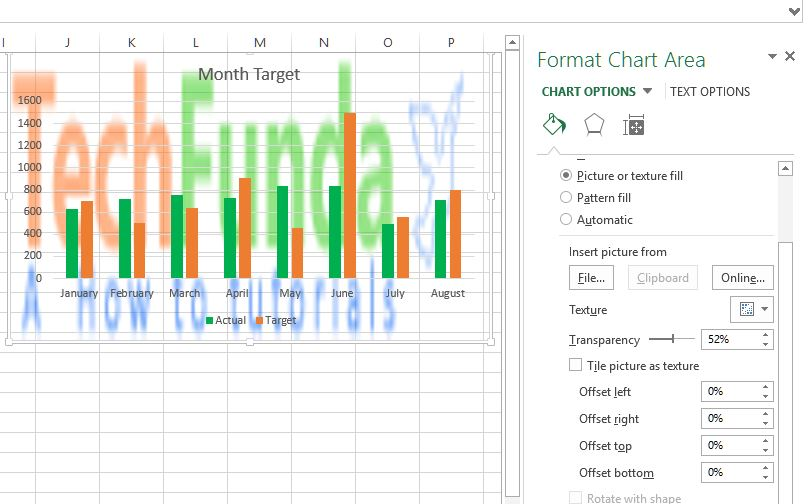 Excel Chart with picture background