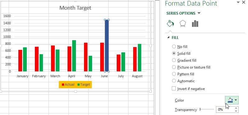 Excel chart single column color change