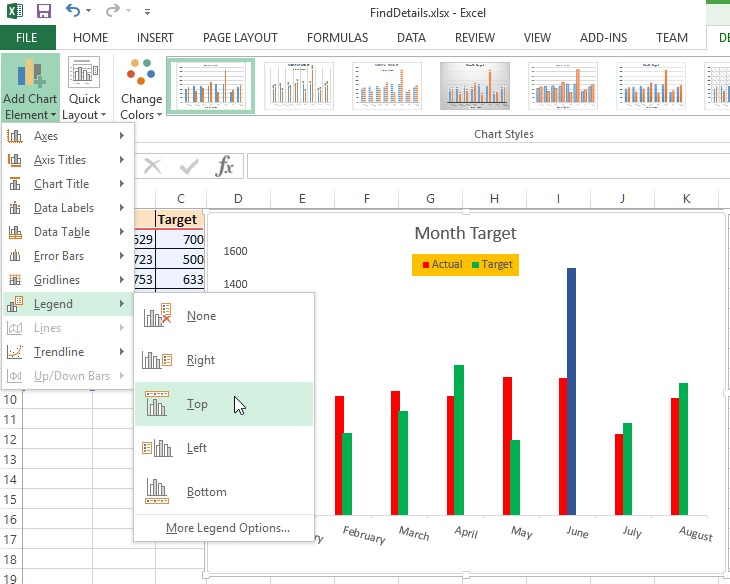 Excel Chart legend position