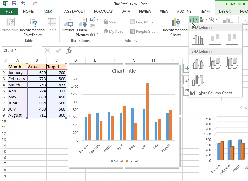 Column chart in Excel