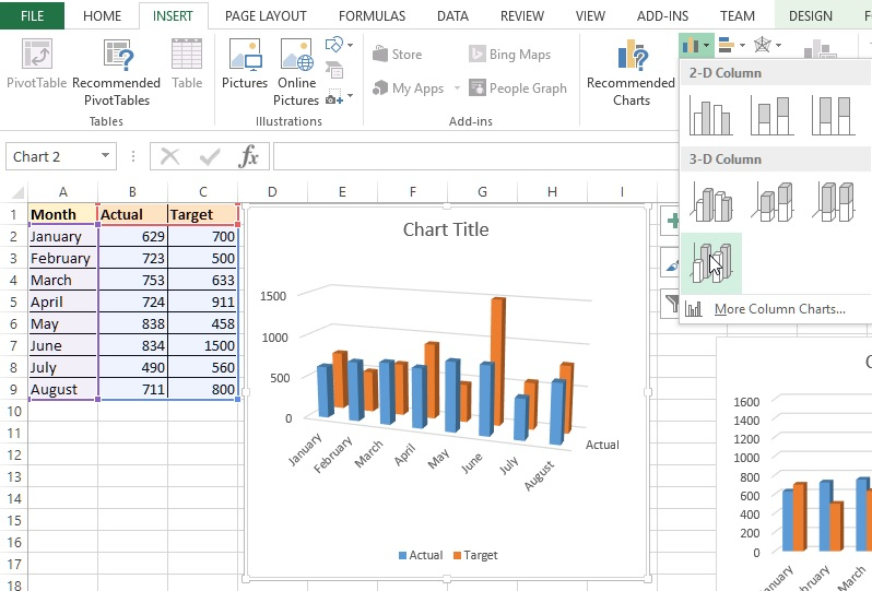 3-D column chart in Excel
