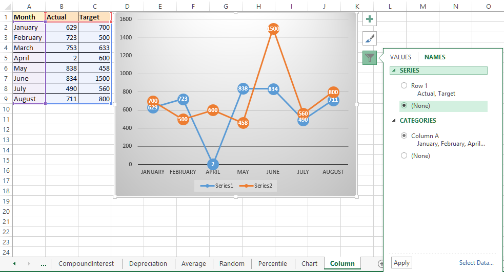Chart axis names in Excel