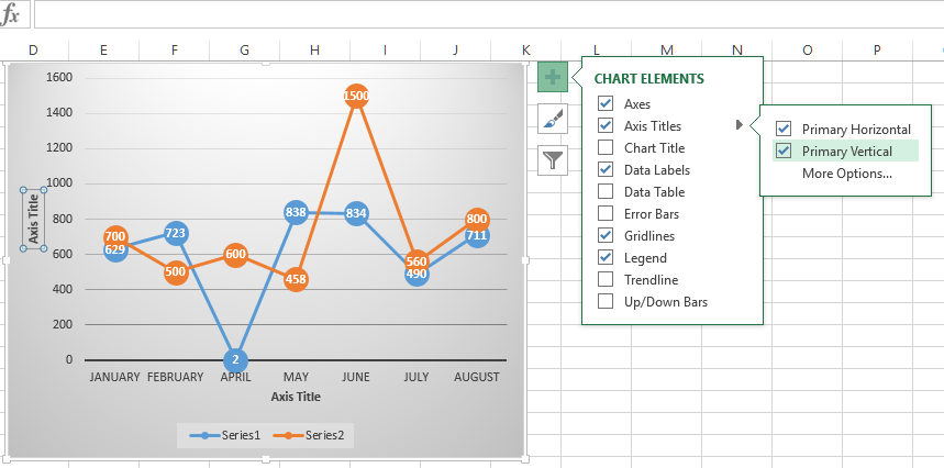 Chart element customization in Excel