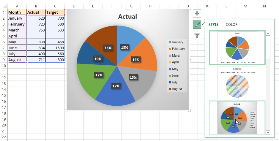 2d 3d pie chart in excel tech funda 2d pie chart with style in excel ccuart