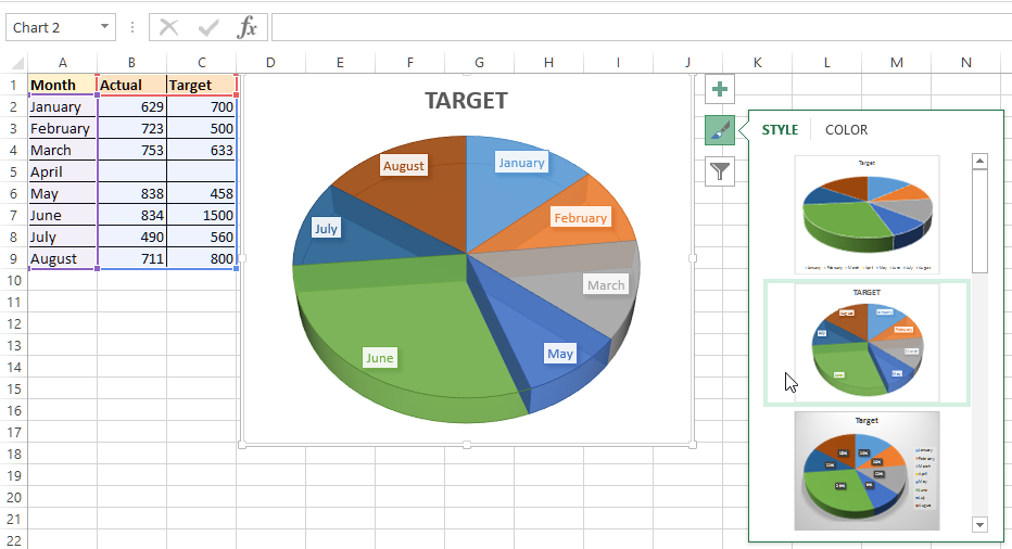 3-D Pie chart in Excel with styling