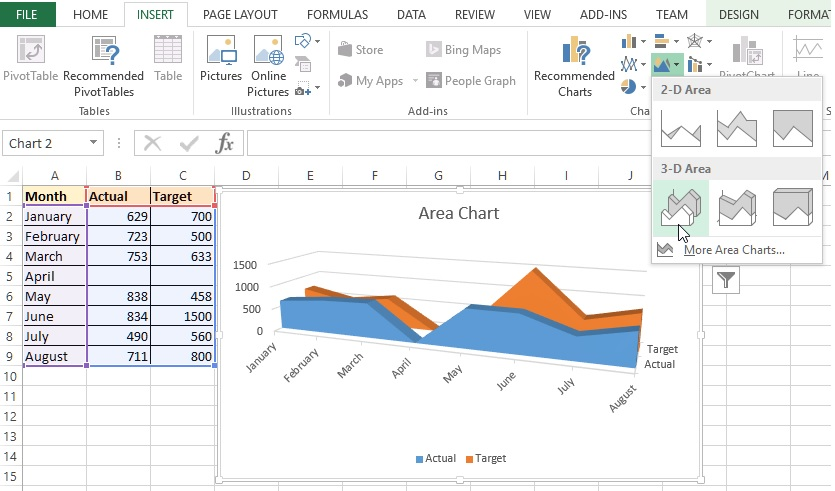 3D Area Chart in Excel