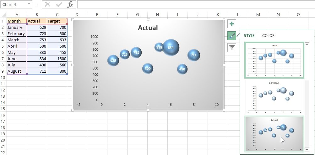 excel bubble chart
