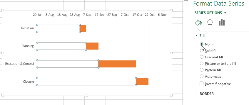 No fill stacked bar in Excel Chart