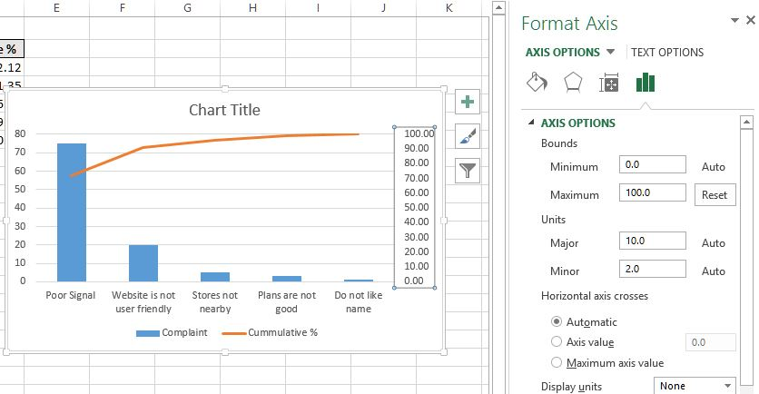 Format axis in Pareto chart in Excel