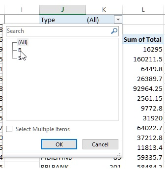 Filter dropdown in Pivot table of Excel