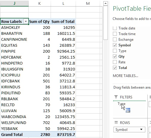 Drag field to filter data in Pivot table of Excel