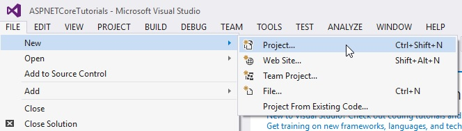 Visual Studio File > New > Project menu