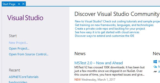 Visual Studio Start page